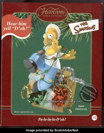 seasonal christmas ornament featuring homer tripped up in christmas lights and decorations